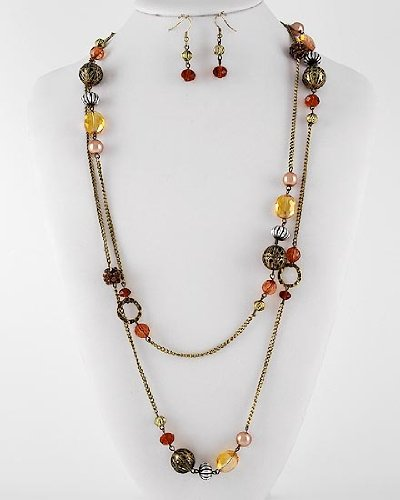 Long Two-Tone Necklace & Earring Set