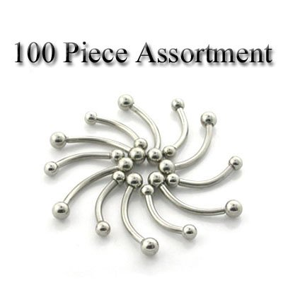100 Piece Assortment of 16 Gauge Surgical Steel Curved Barbell Eyebrow Rings