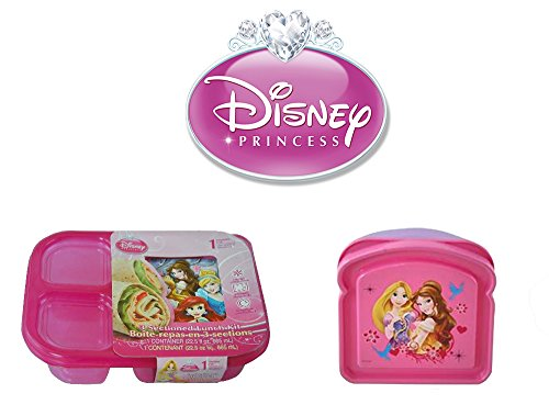 Disney Princess Kids 2 Piece Reusable Lunch Container Kit - Sandwich Box and Divided Lunch Container (Disney Container compare prices)