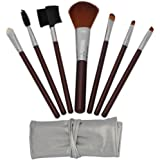 niceeshop 7pcs Brown Professional Cosmetic Makeup Make up Brush Brushes Set Kit with Silver Bag Case