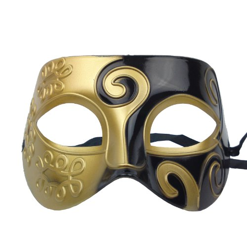 NATI Men's Masquerade Mask Color Gold Black