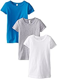 Clementine Big Girls\' Everyday Crew Neck Tee Shirt Assorted 3 Pack, White/Grey/Turquoise, Large