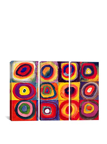 Wassily Kandinsky Squares With Concentric Circles Gallery Wrapped Canvas Print, Triptych