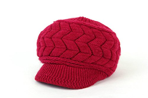 YCHY Women girl's Winter Rabbit Hair Warm Knit Hat Thicken Ski Caps with Visor (bordeaux) (Extra Large Beanie Hat compare prices)