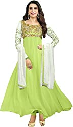 Awesome Fab Green Georgette Semi-Stiched Embroidered Anarkali