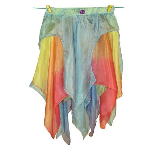 Sarah's Silks Reversible Toddler Skirt - Blue/Rainbow