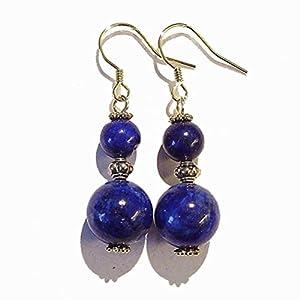 Dark Blue Lapis Lazuli Gemstone & Antique Gold-Tone Earrings