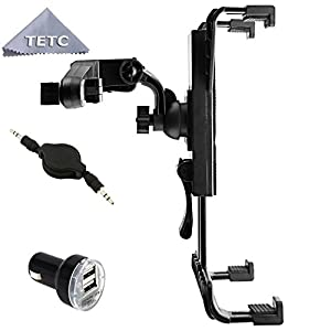 TETC Tablet Car Mount Holder +AUX CABLE +DOUBLE CHARGE,Universal Car Backseat Headrest Mount Holder with Extension 360 Degrees Rotation for 7-Inch to 11-Inch Tablet iPad Air, iPad 1 2 3 4, iPad Mini, Samsung Galaxy Tab, Tab Pro, Tab S, Galaxy Note, Google