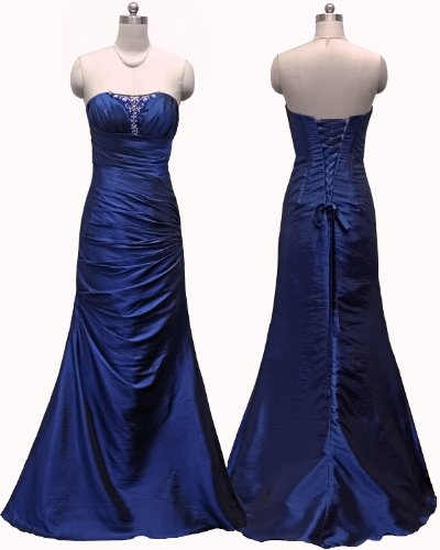Qpid Showgirl Blue Ruched Fishtail Evening Dress Prom Bridesmaid Dresses 5466BL (UK 12)