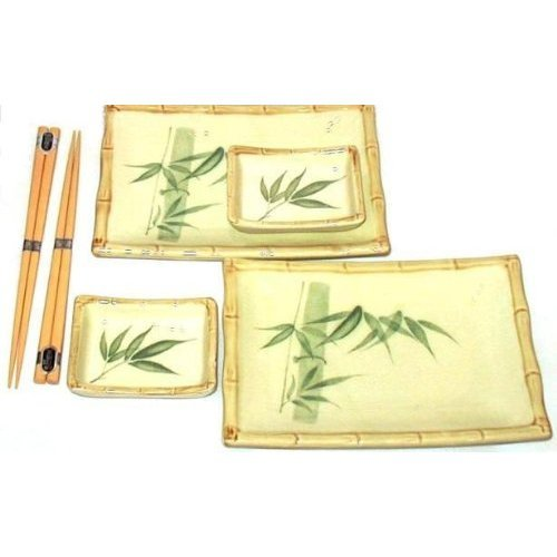 Japanese Bamboo Six Piece Sushi Plate Set