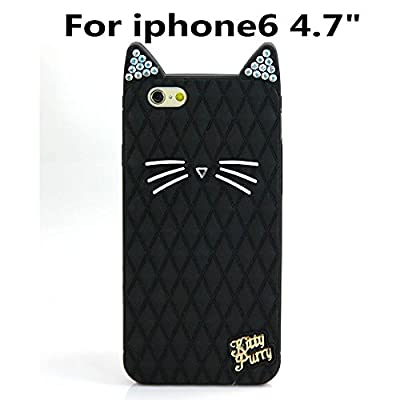 "Iphone6 4.7"" case, California cat Fruit sister Katy Perry kitty purry Metal Brand Diamond glitter case For Iphone6 4.7"" (Black)"