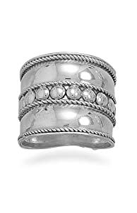 Sterling Silver Ring, 18mm wide Bali Rope and Beads Ring, Sizes 6-11