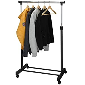 Puregadgets© Adjustable Mobile Tidy Clothes Coat Garment Hanging Rail Rack Storage Stand Castors on Wheels