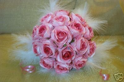 Wedding Flowers Silk on Silk Wedding Flowers   Pink Rose   Ivory Feathers Posy Bouquet