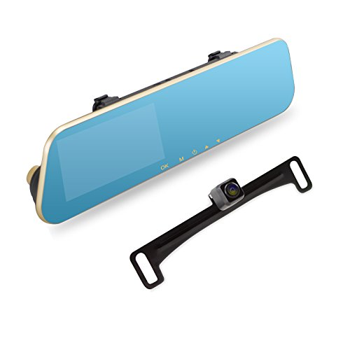 AUTO-VOX M2 1080P HD Dual lens Rearview Mirror Dash Cam with Car Recorder and Reverse Parking System, Car Rear View Backup Camera and 32GB Micro-SD Included (Car Rear Mirror With Camera compare prices)