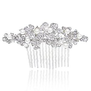 Ever Faith Wedding Silver-Tone Hibiscus Flower Clear Austrian Crystal Hair Comb N02852-1