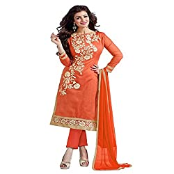 ZHot Fashion Women's Embrodary Unstitched Salwar Suit Material In Chanderi Cotton Fabric (RHACP1004B) Orange