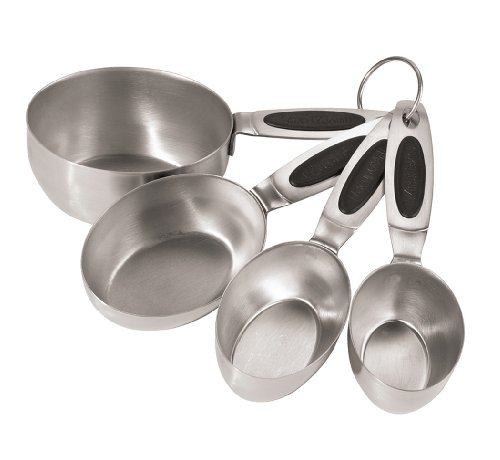 Oggi Stainless Steel Measuring Cups with Ez Grip Santoprene Handles, Set of 4
