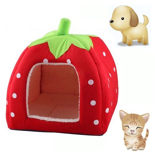KingMas Cute Soft Sponge Strawberry Pet Cat Dog House Bed Wa