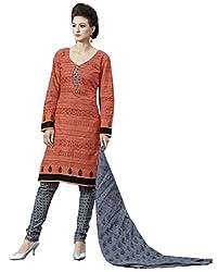 CHINTAN TEXTILES Ethnicwer Womenn's Dress Material(Orange_FreeSize)