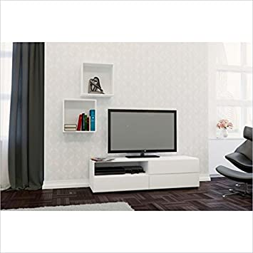 Nexera Blvd 2 Piece Entertainment Set in White with Wall Cubes