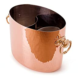 Mauviel M\'30 2706.01 Hammered Copper Oval Champagne Bucket with Insert