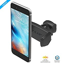 ZAAP® (USA) Easy Vent One Premium Car Mount/Air vent Mount/Car mobile holder [Award winning]. Universal compatible for Smartphones with 360 degree rotation & fully adjustable view. Perfect for Cars. Mobile holder (Black, Car accessories)