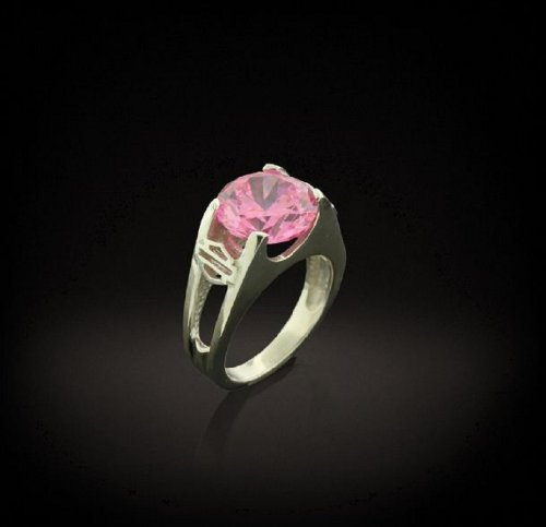 Harley-Davidson® Women's Stamper® PLATINET Sterling Silver and Platinum 12mm Pink CZ Ring. Two Open Bar & Shield Logos on Shoullders. PR7490PCZ