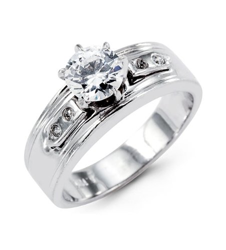 New 14k White Gold Wide Band Round CZ Engagement Ring