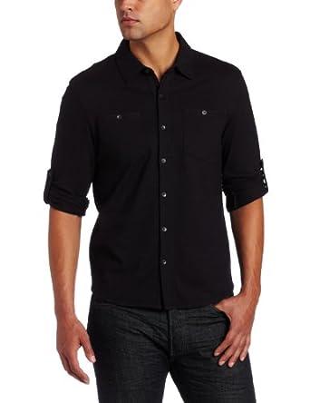 Calvin klein men 39 s long sleeve button up collared polo for Womens button up polo shirts
