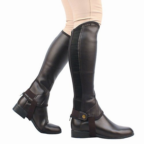 Saxon Equileather Childs Half Chaps M Brown