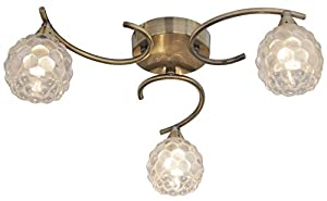 Antique Brass 3 Light Semi Flush Ceiling Light with Clear Bubble Glass Shades from Lights4Living