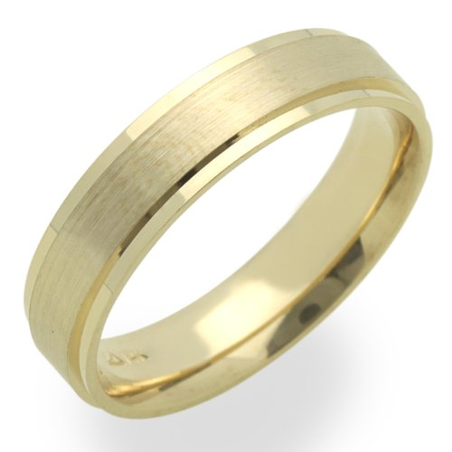 14K Yellow Gold Wedding Bands For Women 5MM Satin Finished Ring , Size 6.5