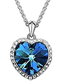 Glitz Fashion Silver Plated Blue Crystal Heart Pendant Necklace For Women - Gift Jewelry