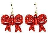 Adorable 3/4 Ribbon Bow Dangle Earrings with Sparkling Red Austrian Crystals Gold Tone Hooks