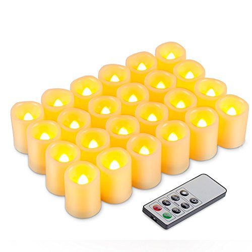 Kohree LED Votive Unscented Battery Powered Candles with Remote Control Timer, 1.5-Inch-by-1.9-Inch, Set of 24 (Remote Control Votive Candles compare prices)