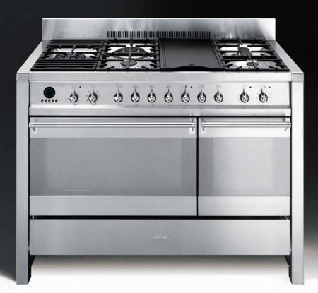 Smeg A3XU6 Free-standing Dual Fuel Dual Cavity Opera Range Approx. 48 Stainless Steel Gas Rangetop With Electric Grill