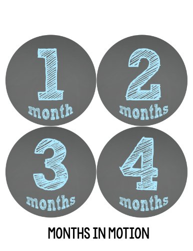 Months in Motion 123 Monthly Baby Stickers Baby Boy Chalkboard Milestone Age