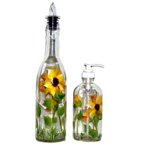 ArtisanStreet's Sunflower Design Pour Bottle & Soap Pump Dispenser Set. Hand Painted.
