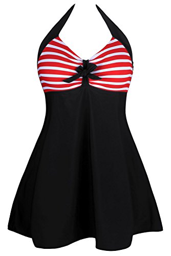 JE Womens Vintage Sailor Pin Up One Piece Striped Swimdress Bathing Swimwear ((US 22-24)XXXL, Red)