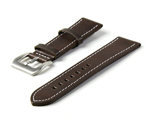Vintage Replacement 24mm Genuine Leather Silver Buckle White Stitch Watch Strap/Watch Band Brown (24mm Brown)