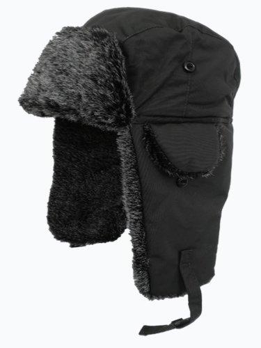 Adult Fur Lined Waterproof Trapper Hat-Black-58
