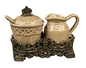 Drake Design 3508 Cream and Sugar Set, Taupe, 7.5x4x6 Inch