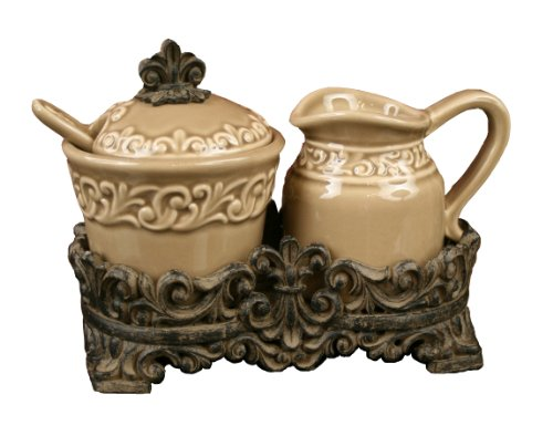 Fleur de lis kitchen canisters drake design 3508 cream and sugar set taupe inch from - Fleur de lis canisters ...