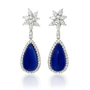 Diamond and Tanzanite 18k White Gold Dangle Earrings