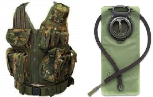 Ultimate Arms Gear Woodland Digital Camo Lightweight Edition Tactical Scenario Military-Hunting Assault Vest W/ Right Handed Quick Draw Pistol Holster + Od Olive Drab Green 2.5 Liter / 84 Oz. Replacement Hydration Backpack Water Bladder Reservoir - Includ