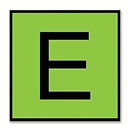 Alphabet E Green Canvas Print Black Frame Kids Bedroom Wall Décor Home Art