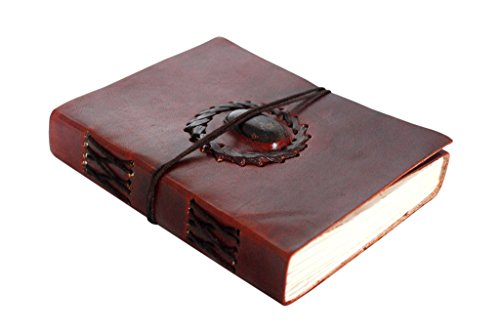Handmade Leather Journal Bound Notebook with Gemstone Leather Diary Gifts for Him Her (Gem Notebook compare prices)