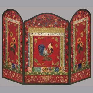 Stupell industries red rooster decorative fireplace screen Decorative fireplace screens