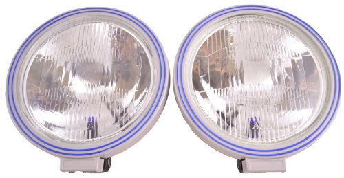 "Pcp 8 1/2"" Rally Spec Blue/Silver Off Road Multi-Reflector Glass Lens Lights Pair"